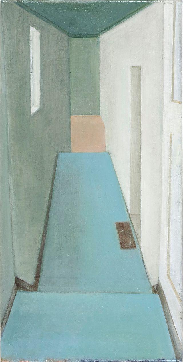 Doris Ziegler, Treppe hinab, 50x25 cm, 2009, Mischtechnik auf Leinwand (Privatbesitz)