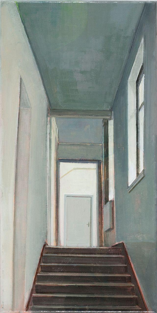 Doris Ziegler, Treppe hinauf, 50x25 cm, 2009, Mischtechnik auf Leinwand