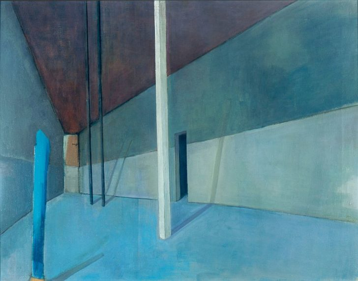 Doris Ziegler, Löwenkäfig, blau, 55x71 cm, 1998, Mischtechnik auf Leinwand