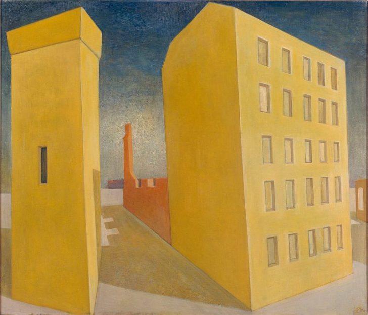 Doris Ziegler, Häuser, gelb, 85x100 cm, 1999, Mischtechnik aufLeinwand