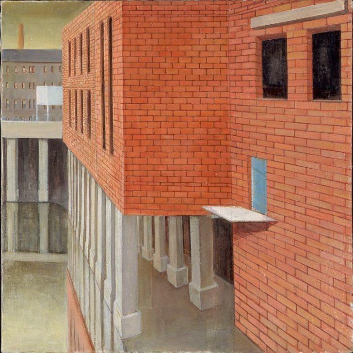 Doris Ziegler, Stelzenhaus, seitlich, 67x70 cm, 2001, Mischtechnik auf Leinwand