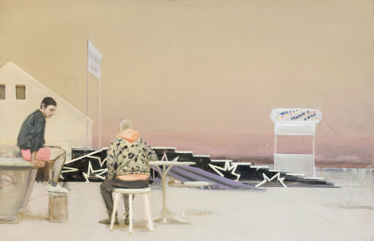 Eric Keller, Festplatz, 110x170 cm, 2012, Öl auf Hartfaser