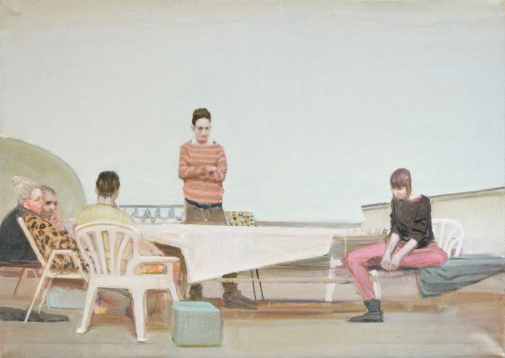 Eric Keller, Laubenfreunde, 100x140 cm, 2011, Öl auf Leinwand
