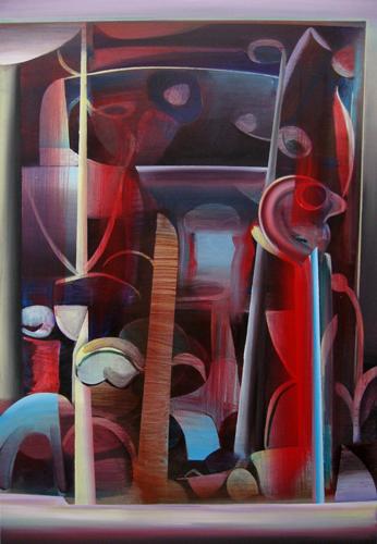 Marten Kirbach, Figuren im Garten, 110x75 cm, 2012, Acryl auf Leinwand