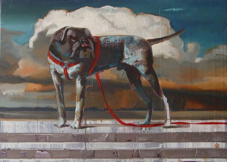 Rayk Goetze, Hund-Treppe, 50x70 cm, 2010, Öl auf Leinwand