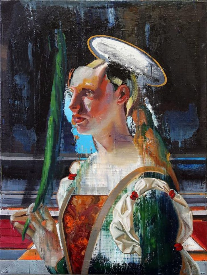 Rayk Goetze, Unbekannte Heilige, 80x60 cm, 2014, Öl auf Leinwand