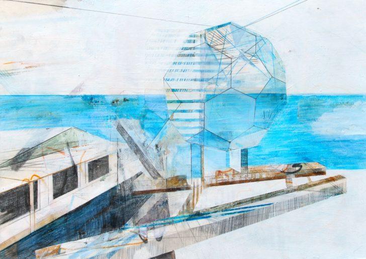 Susanne Wurlitzer, Bellinghausen Station, 20x29 cm, 2015, Mischtechnik auf Papier