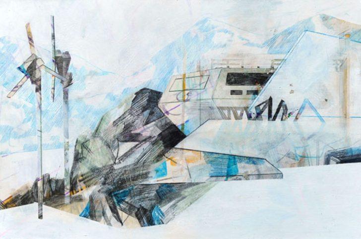 Susanne Wurlitzer, Princess-Elisabeth-Antarctica, 19x29 cm, 2014, Mischtechnik auf Papier