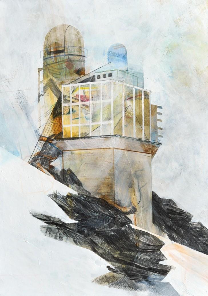 Susanne Wurlitzer, Sphinx Observatory, 29x21 cm, 2014, Mischtechnik auf Pappe