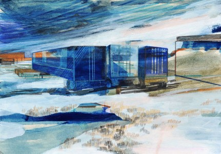 Susanne Wurlitzer, Sverdrup Station, 20x29 cm, 2014, Mischtechnik auf Pappe