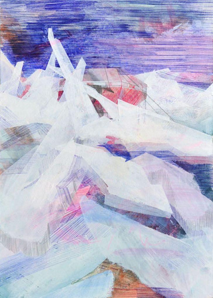 Susanne Wurlitzer, Tai Shan Station, 29x21 cm, 2014, Mischtechnik auf Pappe