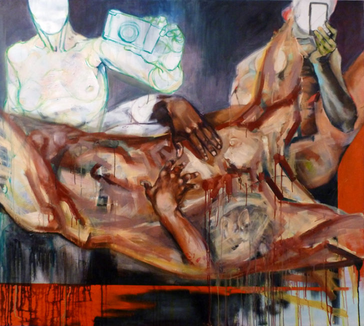 Agnes-Michalczyk_Cross, 2012, Acryl Oel auf LW, 140 x 160 cm