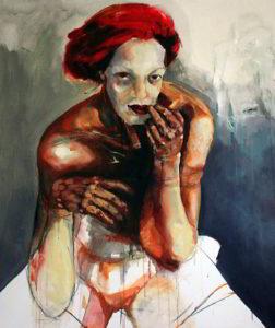 Agnes Michalczyk, Geisha, 130x150 cm, 2009, Mischtechnik auf Leinwand