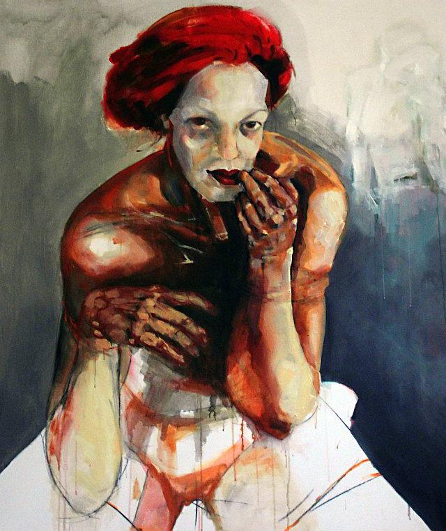 Agnes Michalczyk, Geisha, 2009, Mischtechnik auf Leinwand, 130 x 150 cm