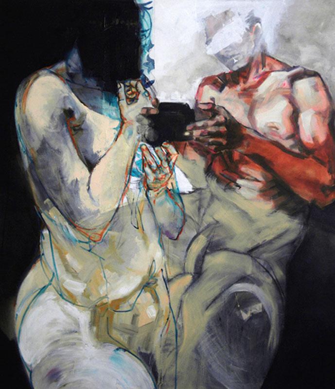 Agnes Michalczyk, Lovers, 160x140cm, 2010, Acryl und Öl auf Leinwand