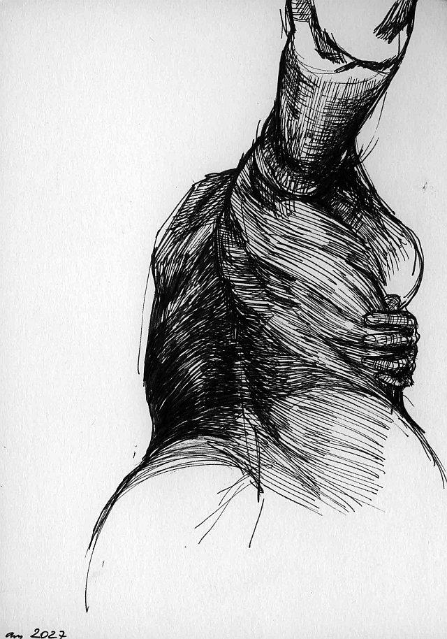 Agnes-Michalczyk, Zeichnung 1, 2009, DIN A5, Tinte auf Papier