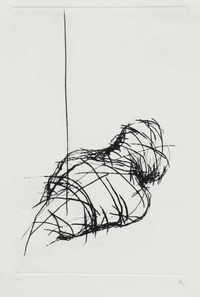 Madeleine Heublein, Abkehr der Zeugen II, 70x50 cm, 1995, Kaltnadel
