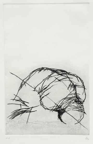 Madeleine Heublein, Abkehr der Zeugen I, 70x50 cm, 1995, Kaltnadel