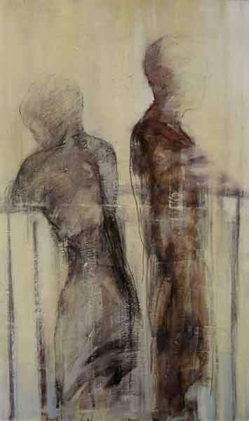 Madeleine Heublein, Auf der Brücke II, 150x90 cm, 2001, Öl auf Leinwand