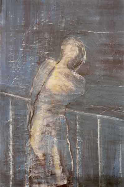 Madeleine Heublein, Auf der Brücke IV, 150x90 cm, 2001, Öl auf Leinwand