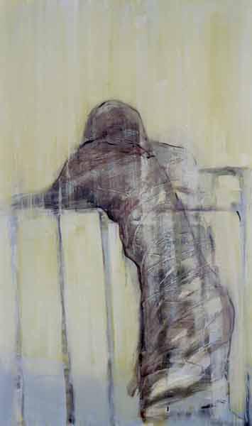 Madeleine Heublein, Auf der Brücke I, 150x90 cm, 2001, Öl auf Leinwand