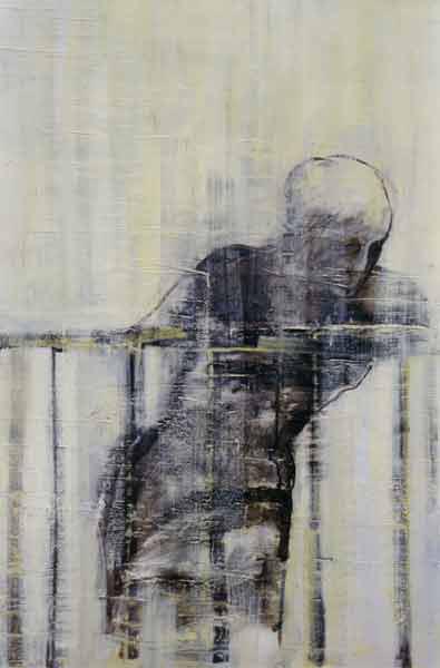 Madeleine Heublein, Auf der Brücke III, 150x90 cm, 2001, Öl auf Leinwand