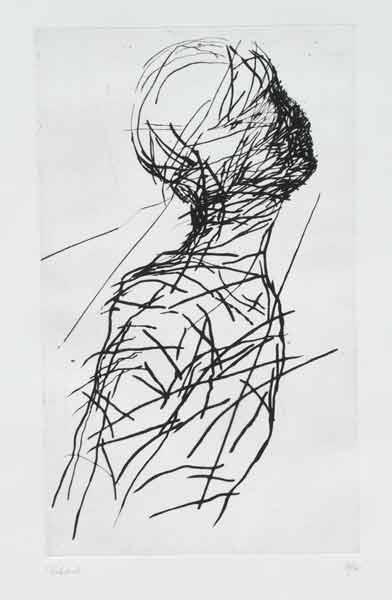 Madeleine Heublein, Glückloser Engel III, 70x50 cm, 2000, Kaltnadel