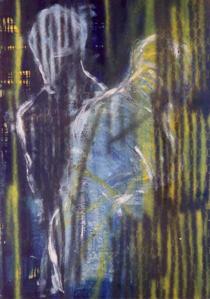 Madeleine Heublein, Goldsucher, 100x80 cm, 1996, Mischtechnik