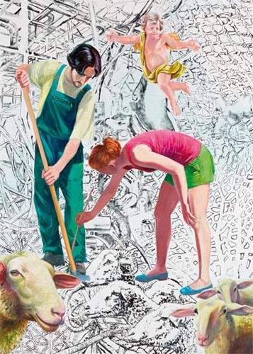 Mathias Perlet, Aufräumen, 240x190 cm, 2012, Eitempera und Öl auf Leinwand