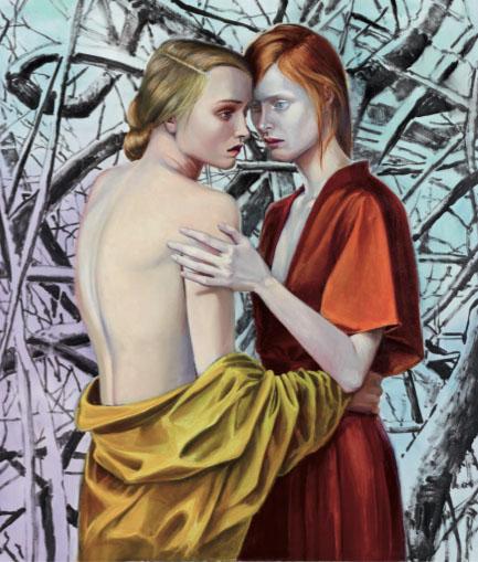 Mathias Perlet, Blutsschwestern III, 160x130 cm, 2012, Eitempera und Öl auf Leinwand