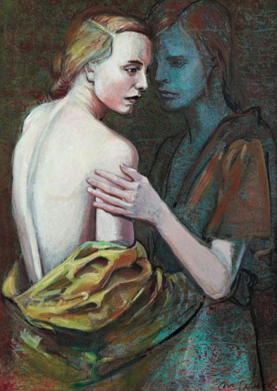 Mathias Perlet, Blutsschwestern II, 100x70 cm, 2012, Eitempera und Öl auf Leinwand