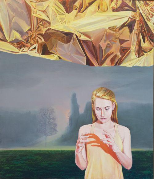Mathias Perlet, Ein Stück vom Glück II, 140x120 cm, 2014, Eitempera und Öl auf Leinwand