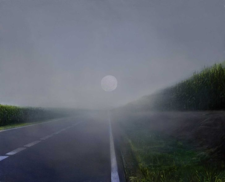 Mathias Perlet, Im Nebel II, 90x100 cm, 2015, Mischtechnik auf Leinwand