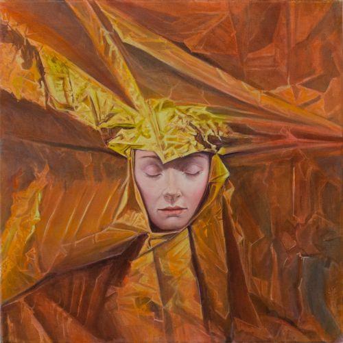 Mathias Perlet, Rose von Jerichow III, 70x70 cm, 2014, Eitempera und Öl auf Leinwand