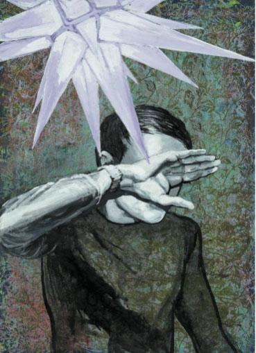 Mathias Perlet, Stille Nacht, 81x56 cm, 2012, Mischtechnik auf Papier