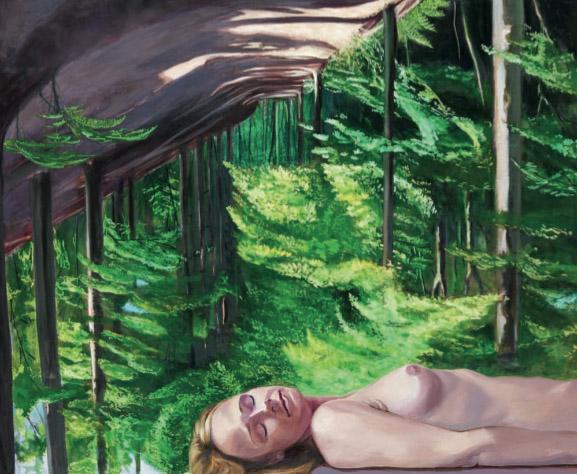 Mathias Perlet, Waldesruh, 130x160 cm, 2010, Eitempera und Öl auf Leinwand