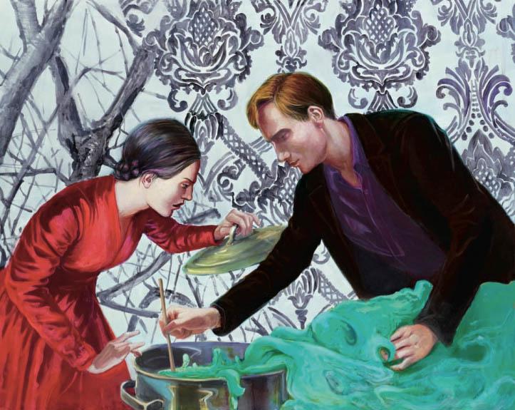 Mathias Perlet, Der süße Brei, 20x150 cm, 2012, Eitempera und Öl auf Leinwand