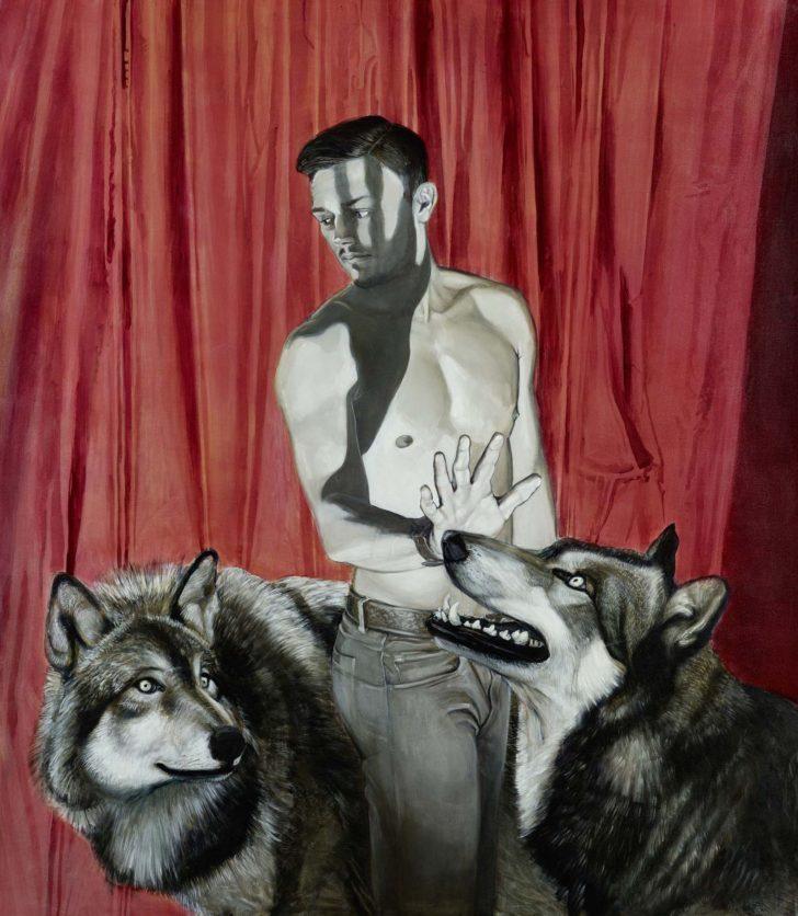 Mathias Perlet, Lektion, 80x160 cm, 2015, Mischtechnik auf Leinwand