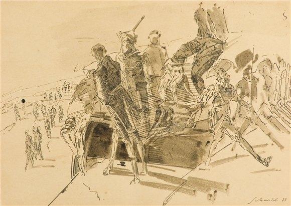Robert Schmiedel, Abmarsch, 21x29,7 cm, 1999, Feder, Tusche und Pinsel