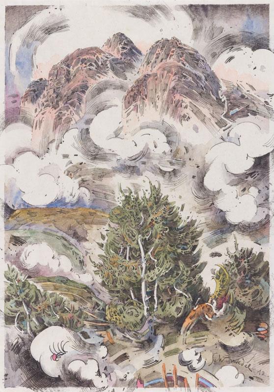 Robert Schmiedel, Am Ofenhorn, 30x21 cm, 2012, Federzeichnung und Aquarell auf Papier