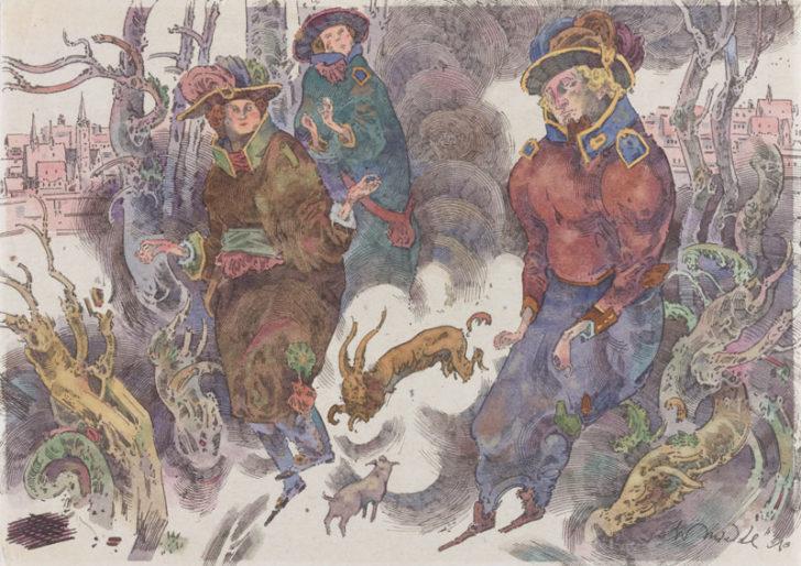 Robert Schmiedel, Drei Jäger, 21x30 cm, 2010, Federzeichnung und Aquarell auf Papier