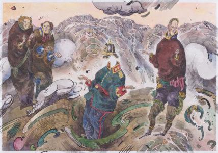 Robert Schmidel, Erdrutsch, 30x21 cm, 2012, Federzeichnung und Aquarell auf Papier