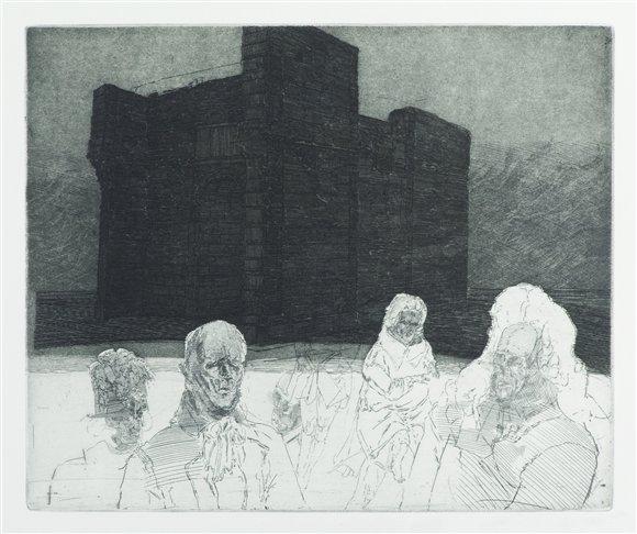 Robert Schmiedel, Die französischen Gesandten treten auf, 25x30 cm, 2000, Radierung