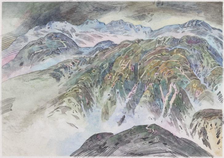 Robert Schmiedel, Grünhorn. 21x30 cm, 2011, Federzeichnung und Aquarell auf Papier