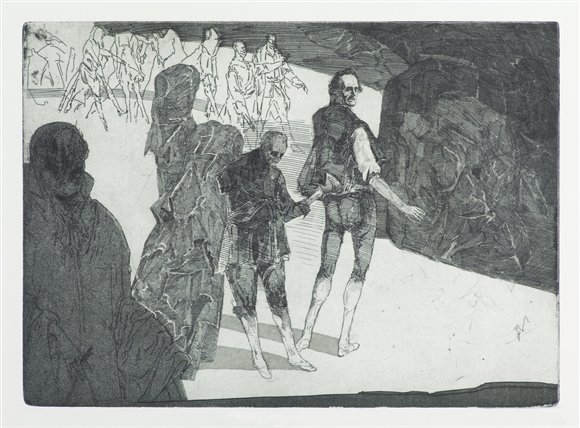 Robert Schmiedel, Trompeten, König Heinrich, Lords und Gefolge, 25x35 cm, 2000, Radierung