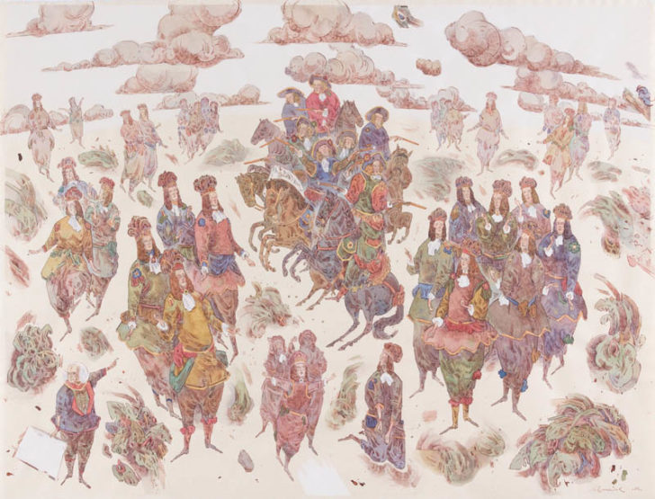 Robert Schmiedel, Little Big Horn, 2012, Federzeichnung und Aquarell auf Papier