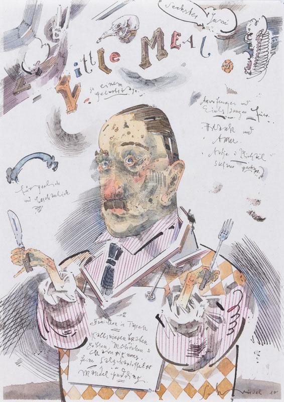 Robert Schmiedel, Little Meal, 30x21 cm, 2010, Federzeichnung und Aquarell auf Papier