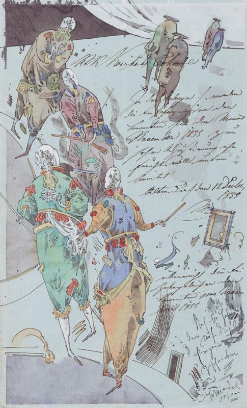 Robert Schmiedel, November in Altendorf, 2012, Federzeichnung und Aquarell auf Papier