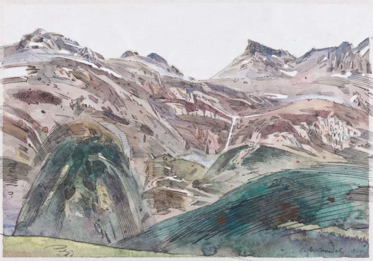 Robert Schmiedel, Rothorntag, 21x30 cm, 2012, Federzeichnung und Aquarell auf Papier