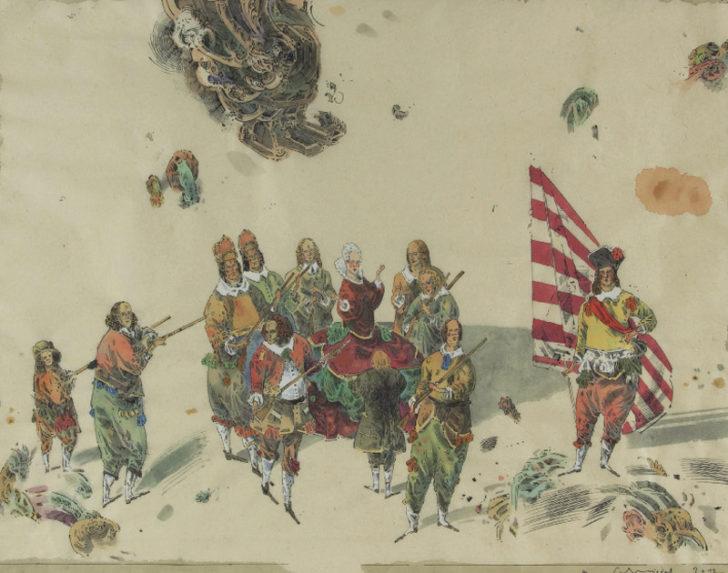 Robert Schmiedel, Schützenguilde, 48x62 cm, 2012, Tusche, Feder und Aquarell auf Papier